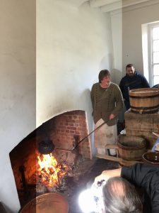 Here is Frank Clark, master of historic foodways at Colonial Williamsburg foundation, making his proprietary sugar and turning it Porter color.