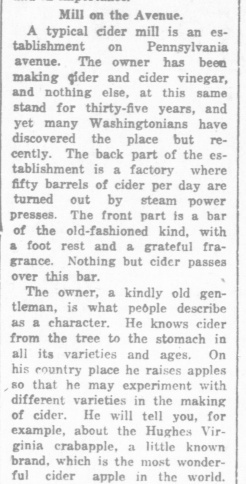 An article from 1919 outlines the best cider apples and DC production of cider
