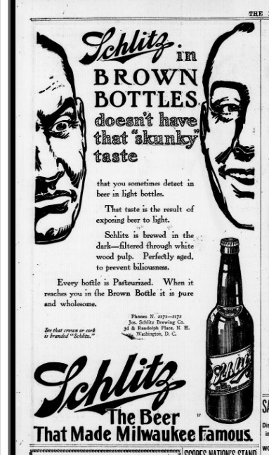 Schlitz, brewed in the dark? Evening star. (Washington, D.C.), 10 July 1912. Chronicling America: Historic American Newspapers. Lib. of Congress.
