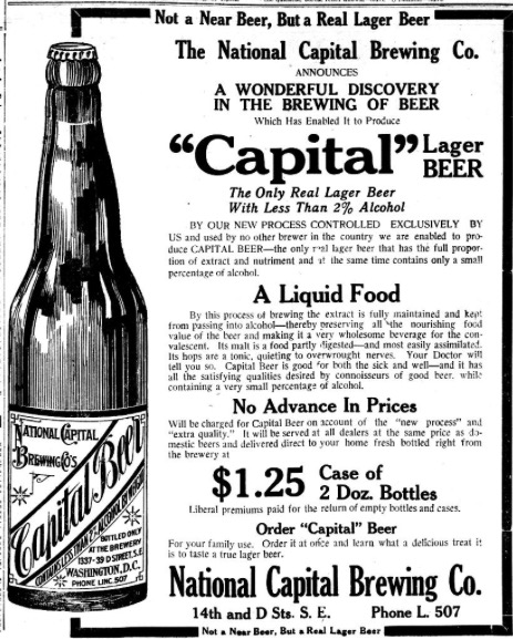 National Capital Lager Beer in 1914. The Washington times. (Washington [D.C.]), 12 Nov. 1914. Chronicling America: Historic American Newspapers. Lib. of Congress.