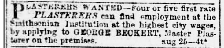 George Beckert brewer and plasterer of Smithsonian Institute? Daily evening star. (Washington [D.C.]), 29 Aug. 1854. Chronicling America: Historic American Newspapers. Lib. of Congress